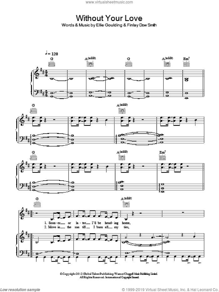 Without Your Love sheet music for voice, piano or guitar by Ellie Goulding and Finlay Dow Smith, intermediate skill level