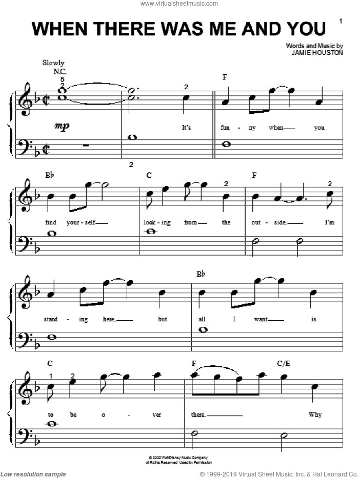 When There Was Me And You sheet music for piano solo (big note book) by High School Musical and Jamie Houston, easy piano (big note book)