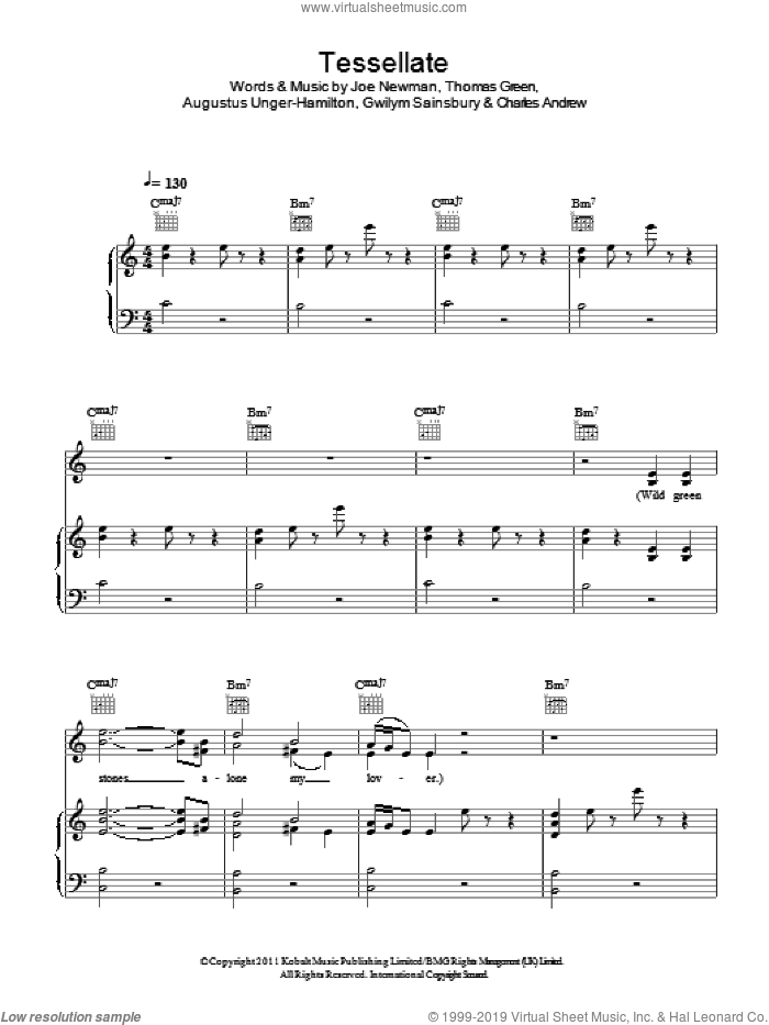 Tessellate sheet music for voice, piano or guitar by Ellie Goulding, Augustus Unger-Hamilton, Charles Andrew, Gwilym Sainsbury, Joe Newman and Thomas Green, intermediate skill level