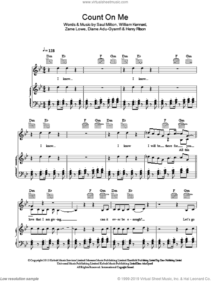 Count On Me sheet music for voice, piano or guitar by Chase & Status, Chase & Status, Diane Adu-Gyamfi, Henry Ritson, Saul Milton, William Kennard and Zane Lowe, intermediate skill level