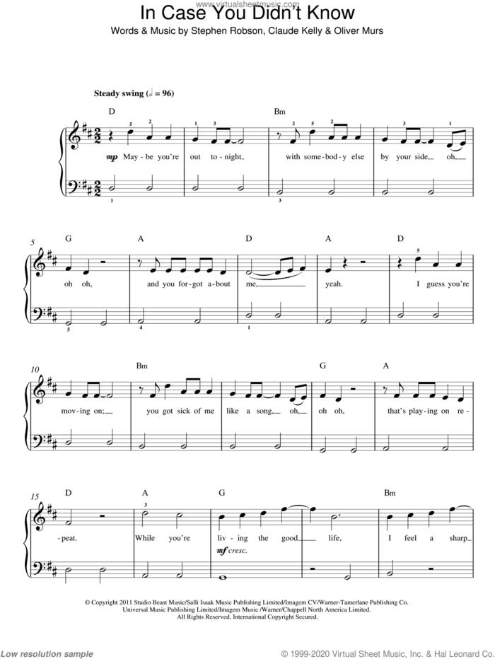 In Case You Didn't Know sheet music for piano solo by Olly Murs, Claude Kelly, Oliver Murs and Steve Robson, easy skill level