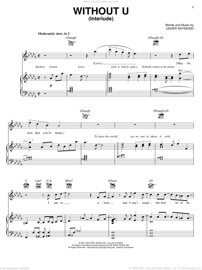 Without U (Interlude) sheet music for voice, piano or guitar by Gary Usher and Usher Raymond, intermediate skill level