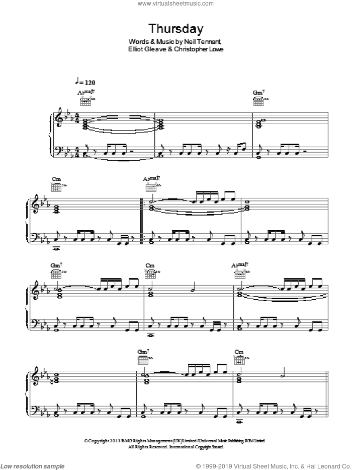 Thursday sheet music for voice, piano or guitar by Pet Shop Boys featuring Example, Christopher Lowe, Elliot Gleave and Neil Tennant, intermediate skill level
