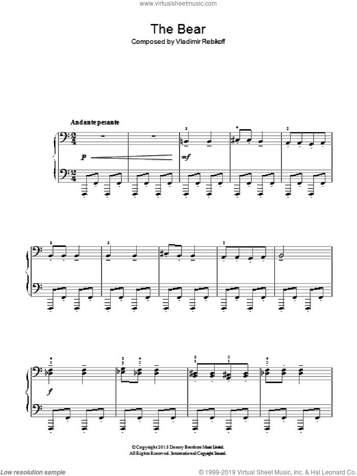 The Bear sheet music for piano solo by Vladimir Rebikoff, classical score, easy skill level