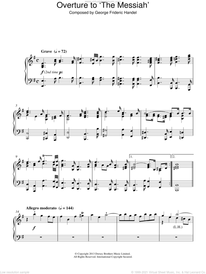 Overture to 'The Messiah' sheet music for piano solo by George Frideric Handel, classical score, intermediate skill level