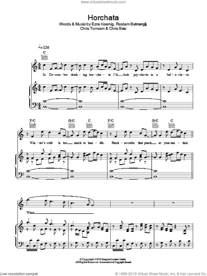Horchata sheet music for voice, piano or guitar by Vampire Weekend, Chris Baio, Chris Tomson, Ezra Koenig and Rostam Batmanglij, intermediate skill level