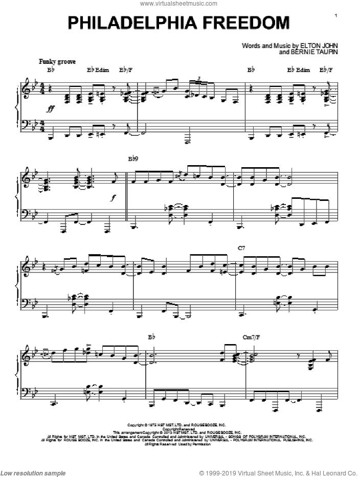 Philadelphia Freedom [Jazz version] (arr. Brent Edstrom) sheet music for piano solo by Elton John and Bernie Taupin, intermediate skill level