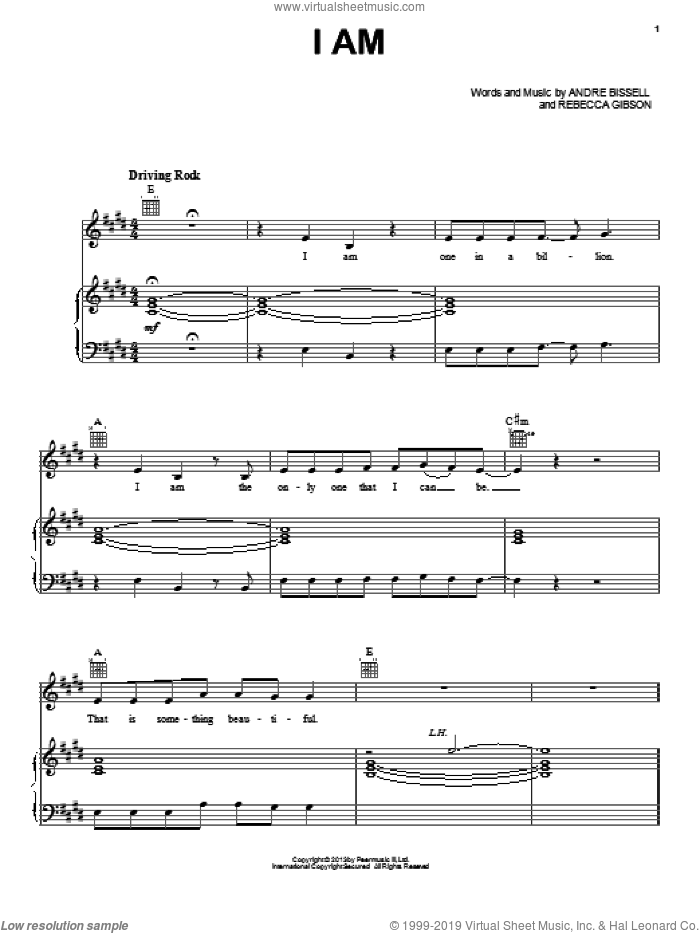 I Am sheet music for voice, piano or guitar by Vinyl Hearts, intermediate skill level