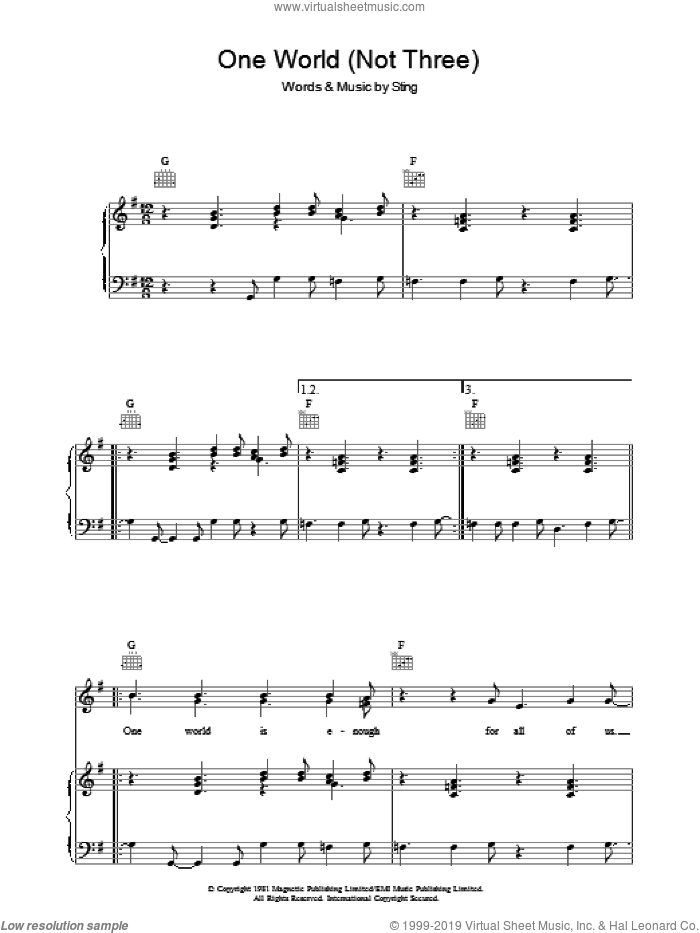 One World (Not Three) sheet music for voice, piano or guitar by The Police and Sting, intermediate skill level