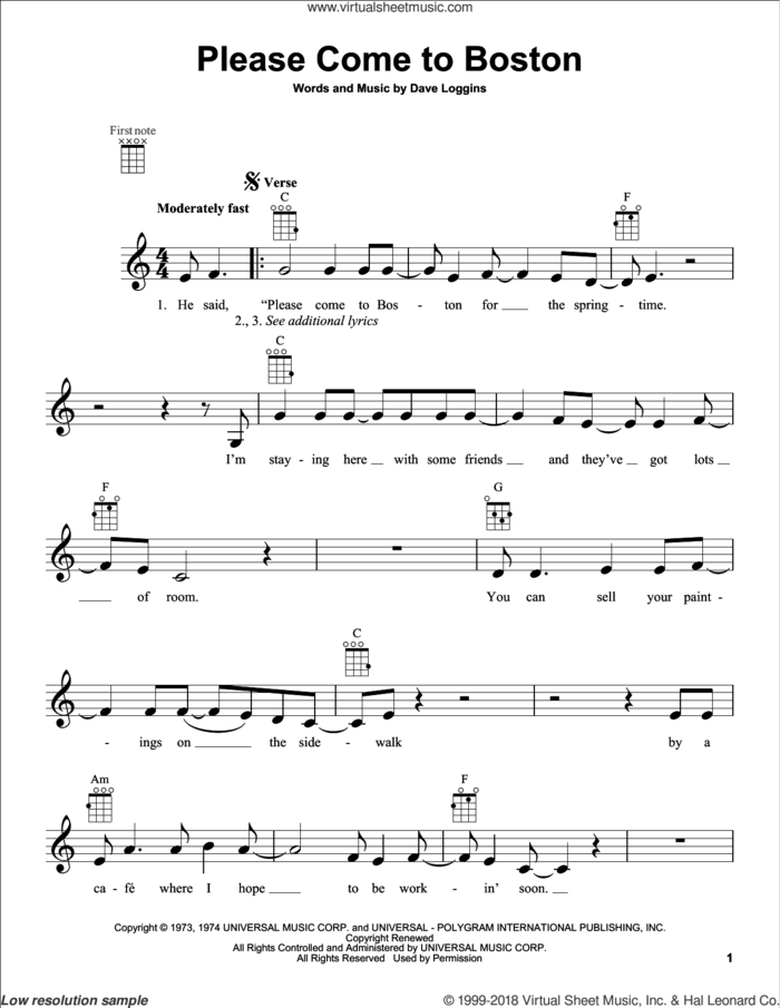 Please Come To Boston sheet music for ukulele by Dave Loggins, intermediate skill level