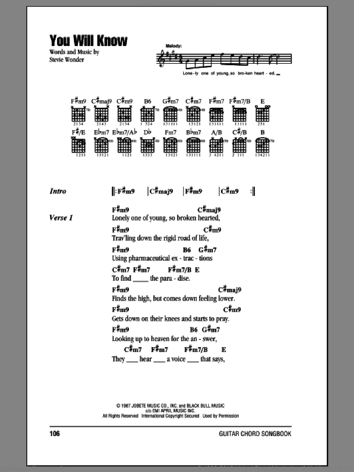 You Will Know sheet music for guitar (chords) by Stevie Wonder, intermediate skill level