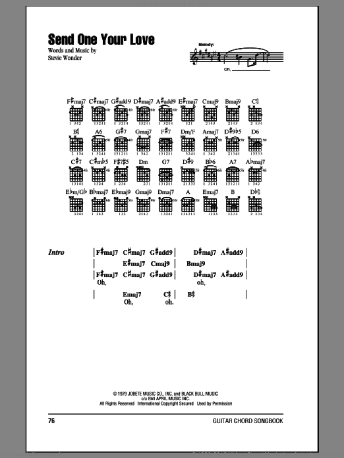 Send One Your Love sheet music for guitar (chords) by Stevie Wonder, intermediate skill level