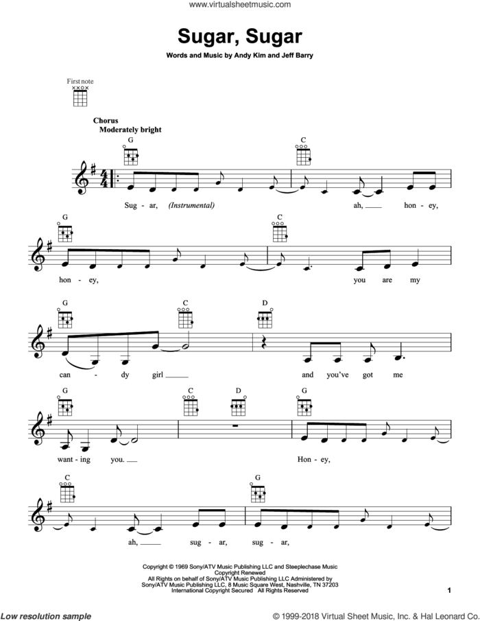 Sugar, Sugar sheet music for ukulele by The Archies, intermediate skill level
