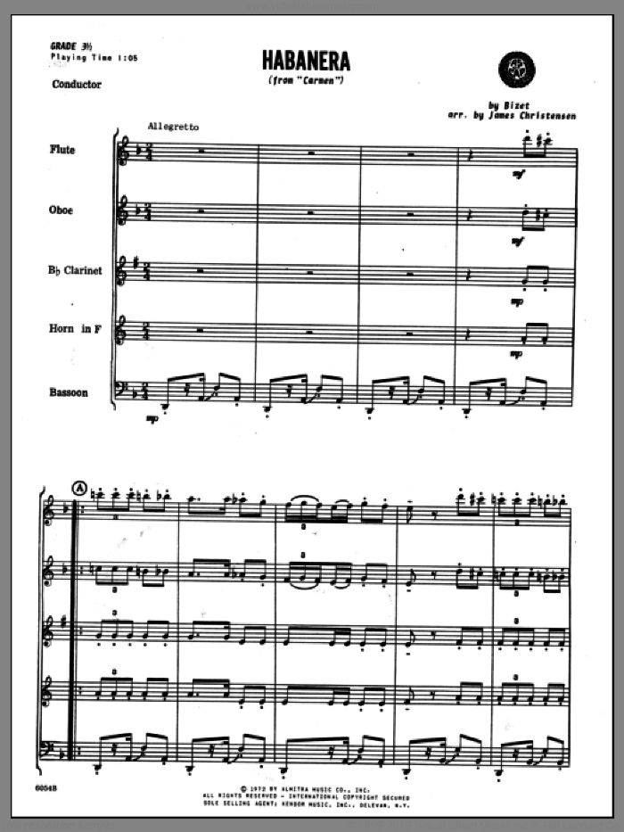 Habanera (from Carmen) (COMPLETE) sheet music for wind quintet by Georges Bizet and Christensen, intermediate skill level