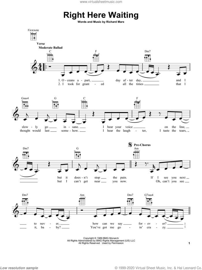 Right Here Waiting sheet music for ukulele by Richard Marx, intermediate skill level