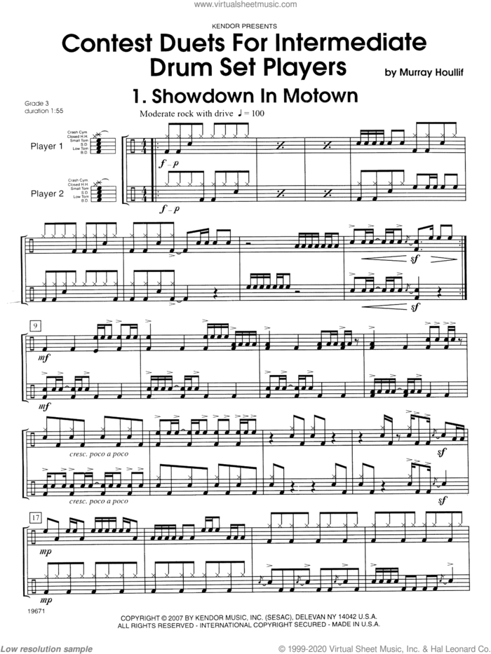 Contest Duets For Intermediate Drum Set Players sheet music for percussions by Houllif, classical score, intermediate skill level