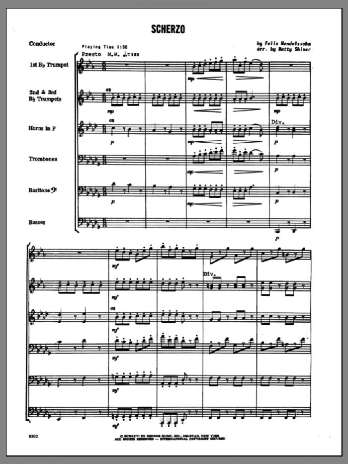 Scherzo (COMPLETE) sheet music for brass sextet by Felix Mendelssohn-Bartholdy and Shiner, classical score, intermediate skill level