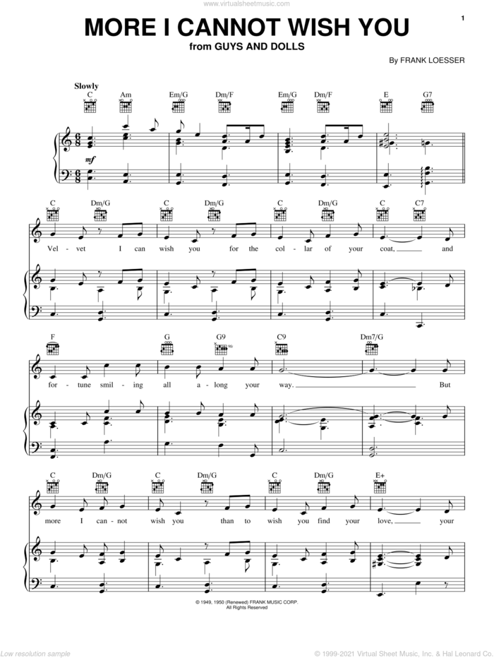 More I Cannot Wish You sheet music for voice, piano or guitar by Frank Loesser and Guys And Dolls (Musical), wedding score, intermediate skill level