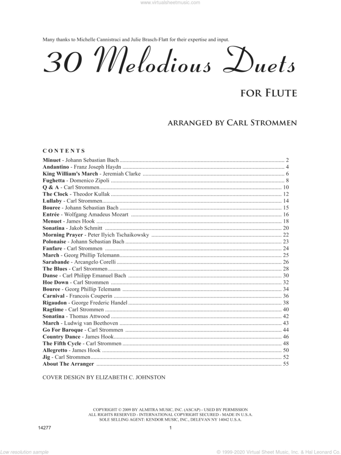 30 Melodious Duets sheet music for two flutes by Carl Strommen, classical score, intermediate duet