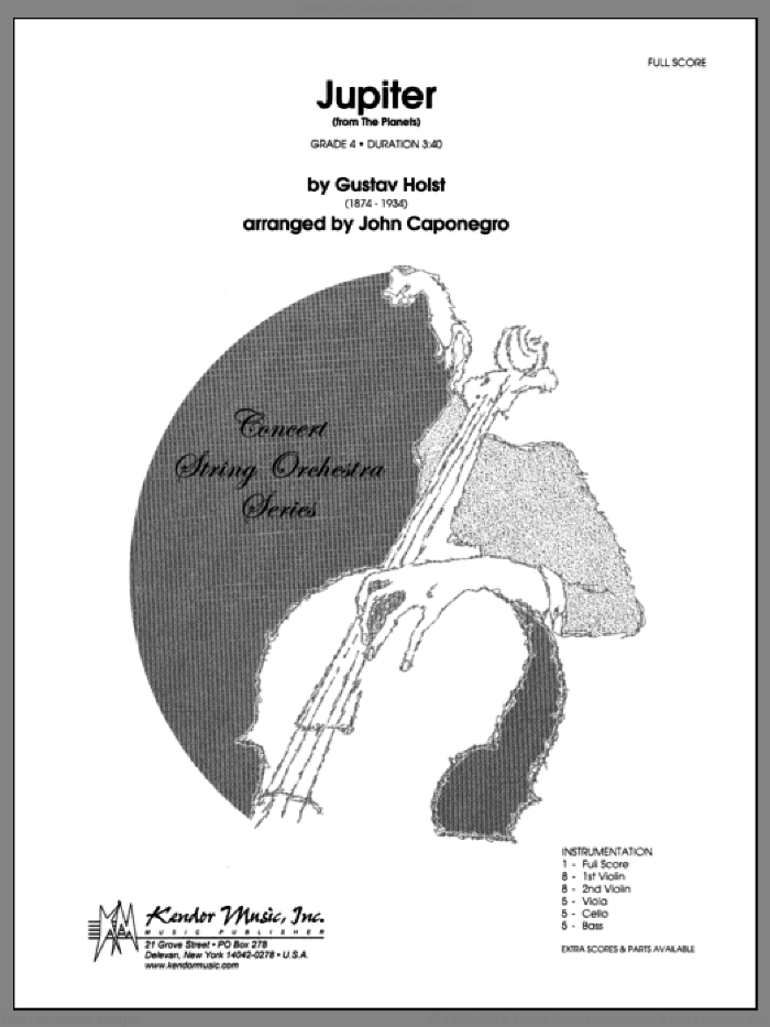 Jupiter (from The Planets) (COMPLETE) sheet music for orchestra by Gustav Holst and John Caponegro, classical score, intermediate skill level