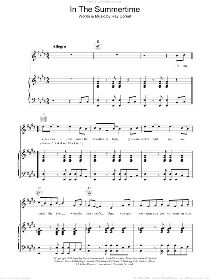 In The Summertime sheet music for voice, piano or guitar by Mungo Jerry and Ray Dorset, intermediate skill level