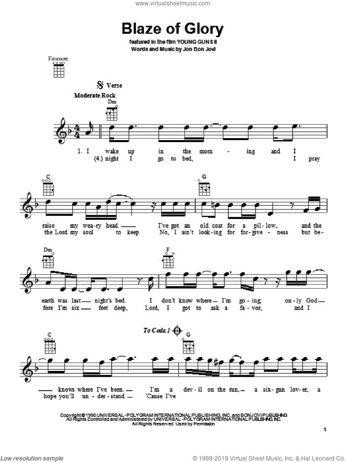 Blaze Of Glory sheet music for ukulele by Bon Jovi, intermediate skill level