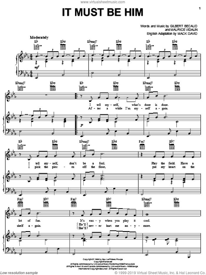 It Must Be Him sheet music for voice, piano or guitar by Mack David, Vikki Carr, Gilbert Becaud and Maurice Vidalin, intermediate skill level