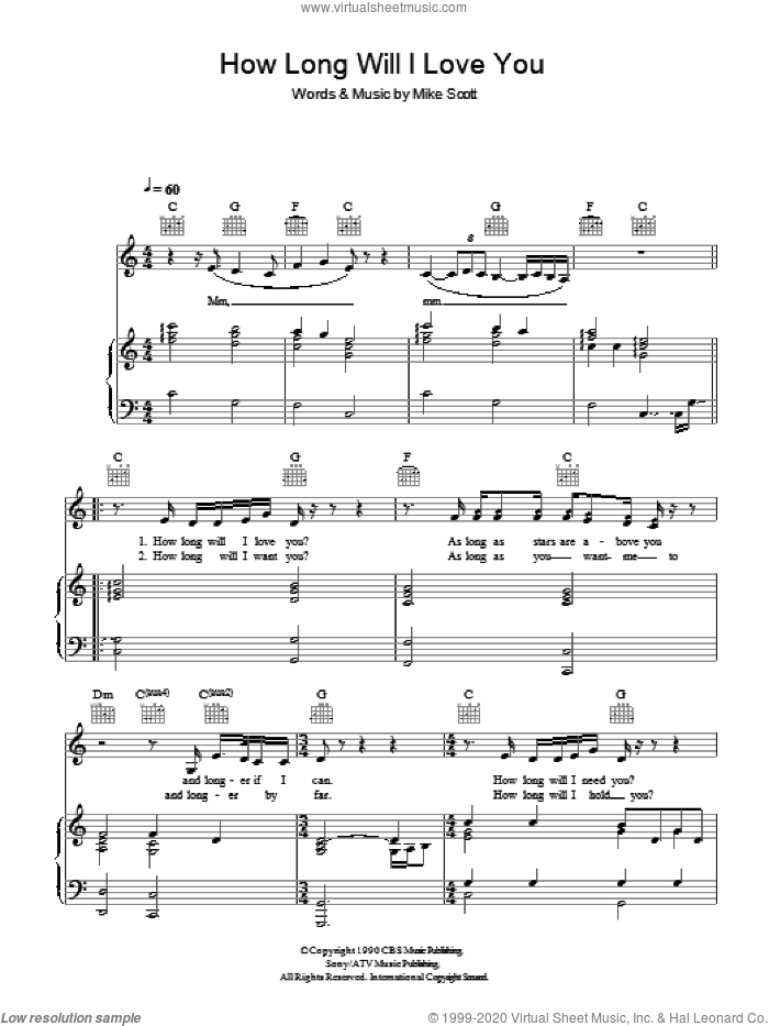 How Long Will I Love You sheet music for voice, piano or guitar by Ellie Goulding and Mike Scott, intermediate skill level