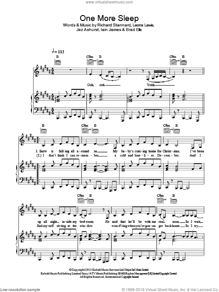 One More Sleep sheet music for voice, piano or guitar by Leona Lewis, Brad Ellis, Iain James, Jez Ashurst and Richard Stannard, intermediate skill level