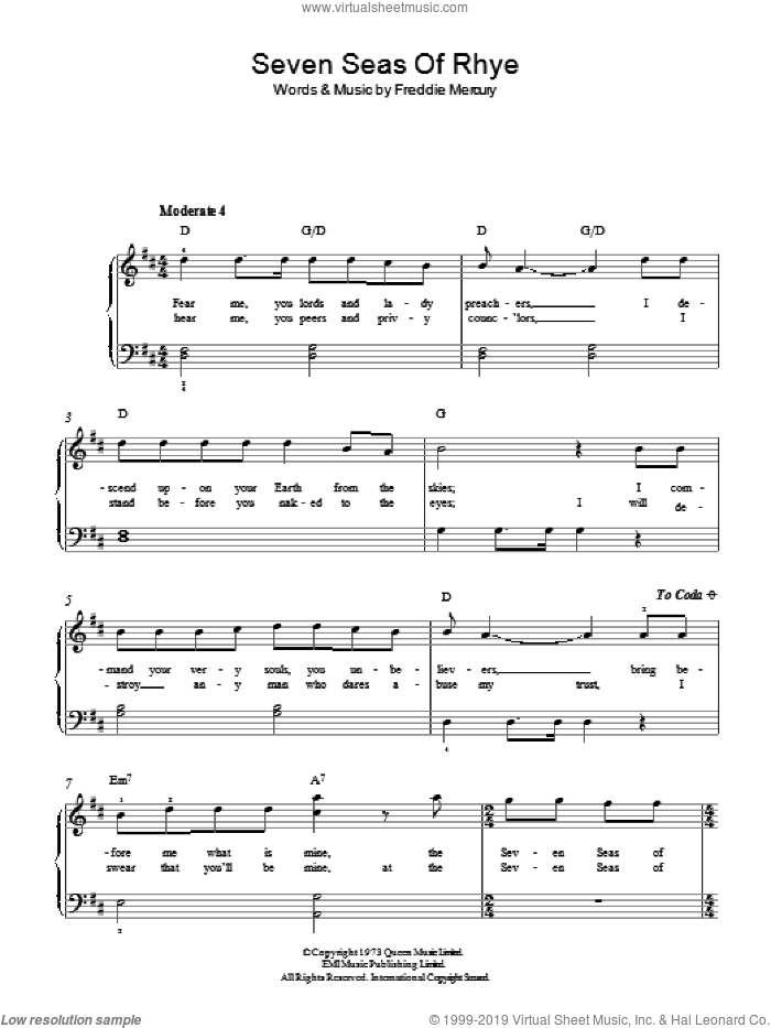 Seven Seas Of Rhye sheet music for piano solo by Queen and Freddie Mercury, easy skill level