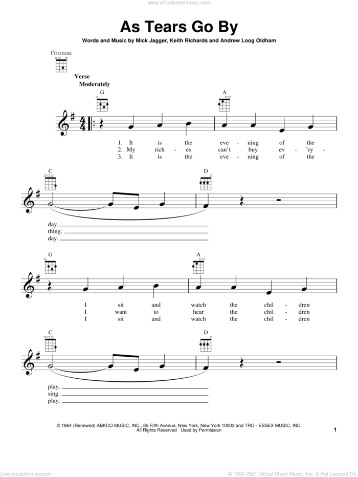 As Tears Go By sheet music for ukulele by The Rolling Stones, intermediate skill level