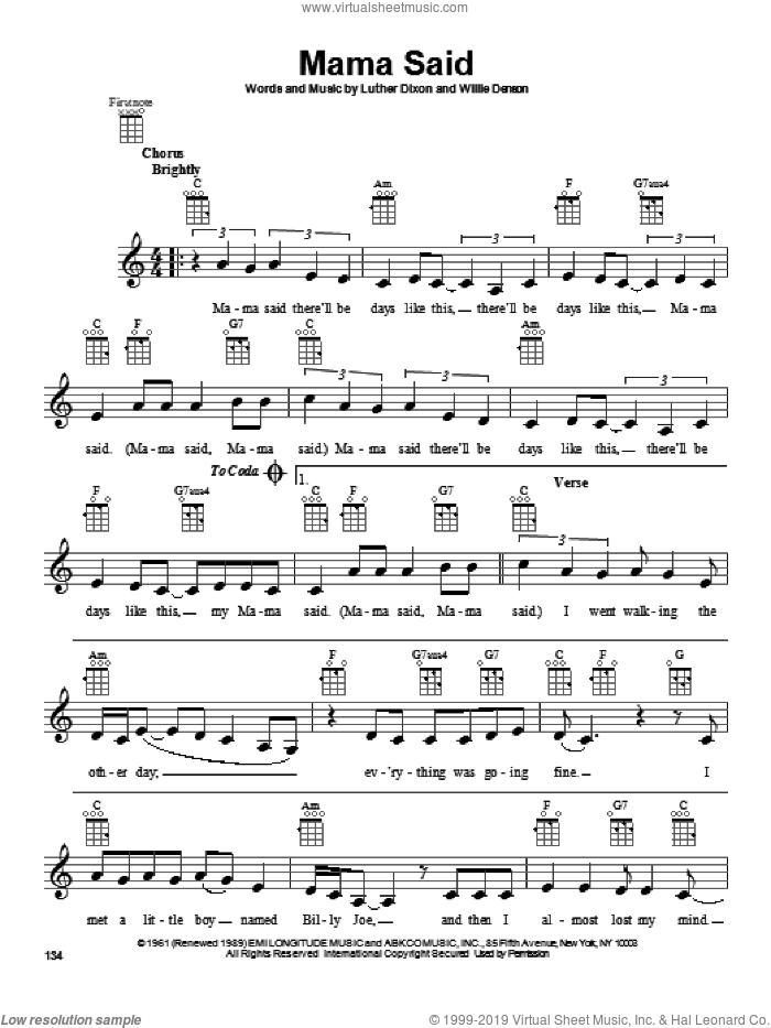 Mama Said sheet music for ukulele by The Shirelles, intermediate skill level