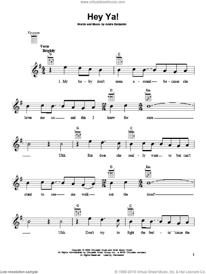 Hey Ya! sheet music for ukulele by OutKast, intermediate skill level