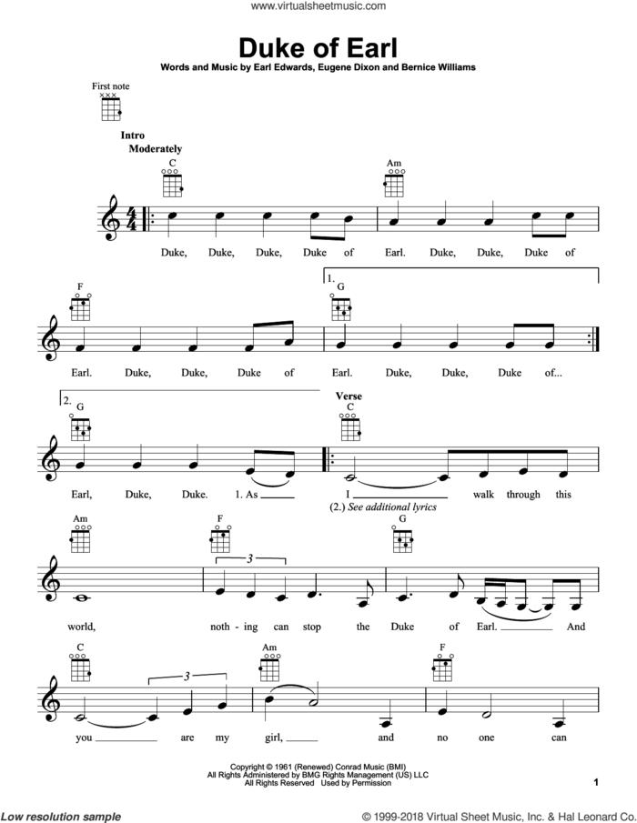 Duke Of Earl sheet music for ukulele by Gene Chandler, intermediate skill level
