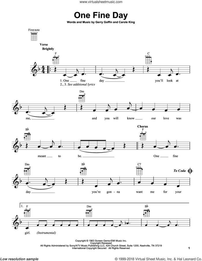 One Fine Day sheet music for ukulele by The Chiffons, intermediate skill level
