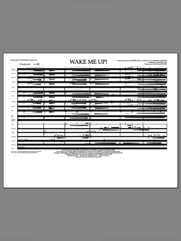 Wake Me Up! (COMPLETE) sheet music for marching band by Tom Wallace and Avicii, intermediate skill level