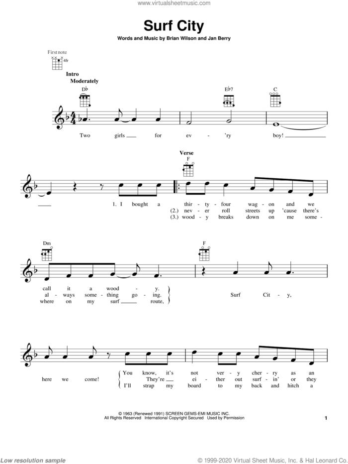 Surf City sheet music for ukulele by Jan & Dean, intermediate skill level