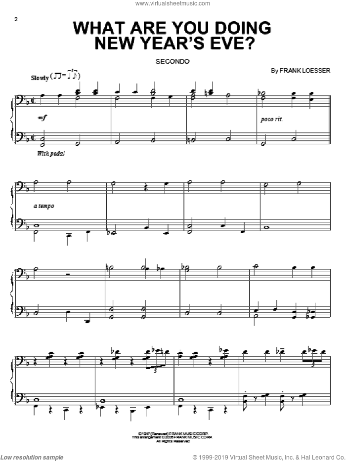 What Are You Doing New Year's Eve? sheet music for piano four hands by Frank Loesser, intermediate skill level