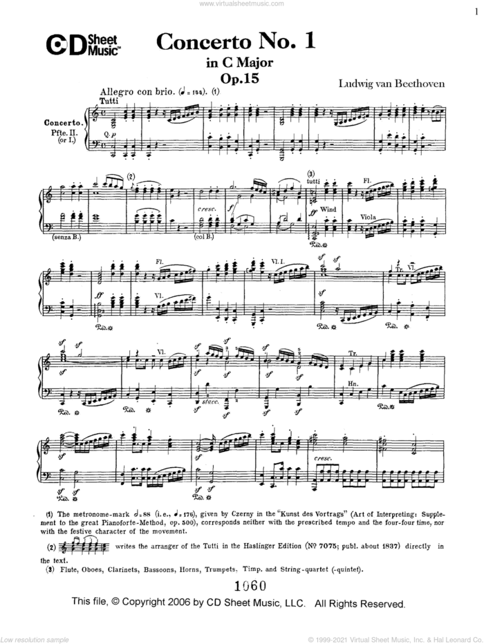 Concerto No. 1  in C Major, Op. 15 sheet music for piano solo by Ludwig van Beethoven, classical score, intermediate skill level