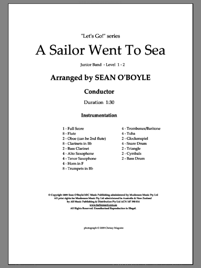 A Sailor Went To Sea (COMPLETE) sheet music for concert band by Sean O'Boyle, intermediate skill level