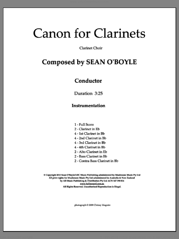 Canon For Clarinets (COMPLETE) sheet music for clarinet ensemble by Sean O'Boyle, classical score, intermediate skill level