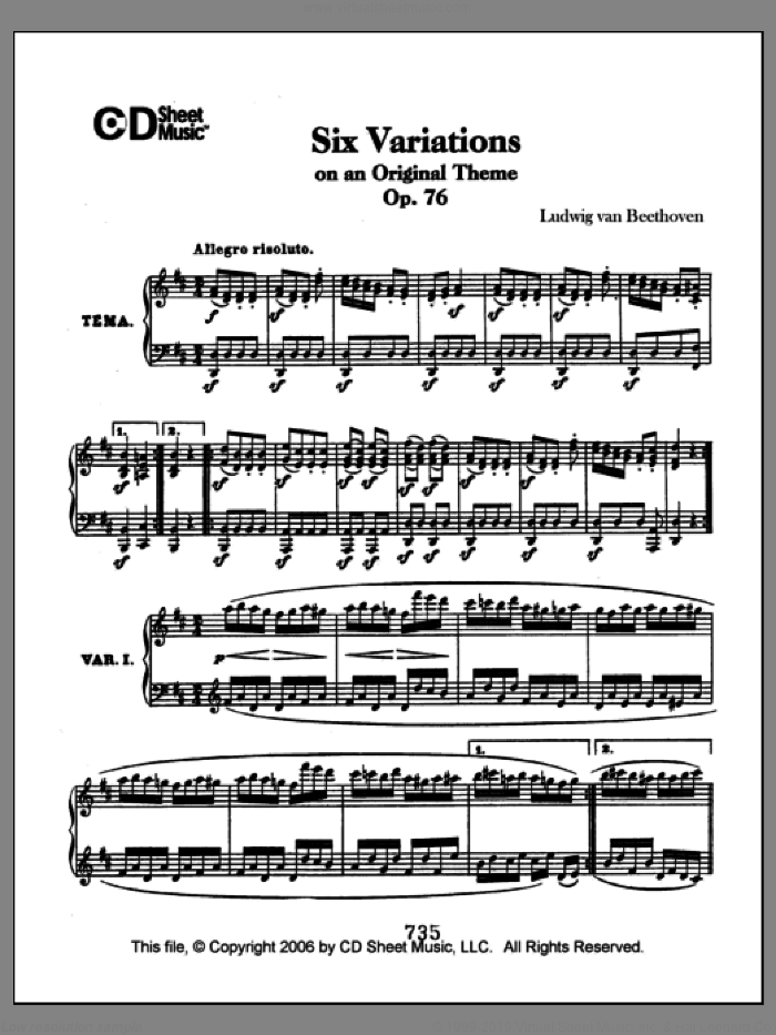 Variations (6) On An Original Theme, Op. 76 sheet music for piano solo by Ludwig van Beethoven, classical score, intermediate skill level