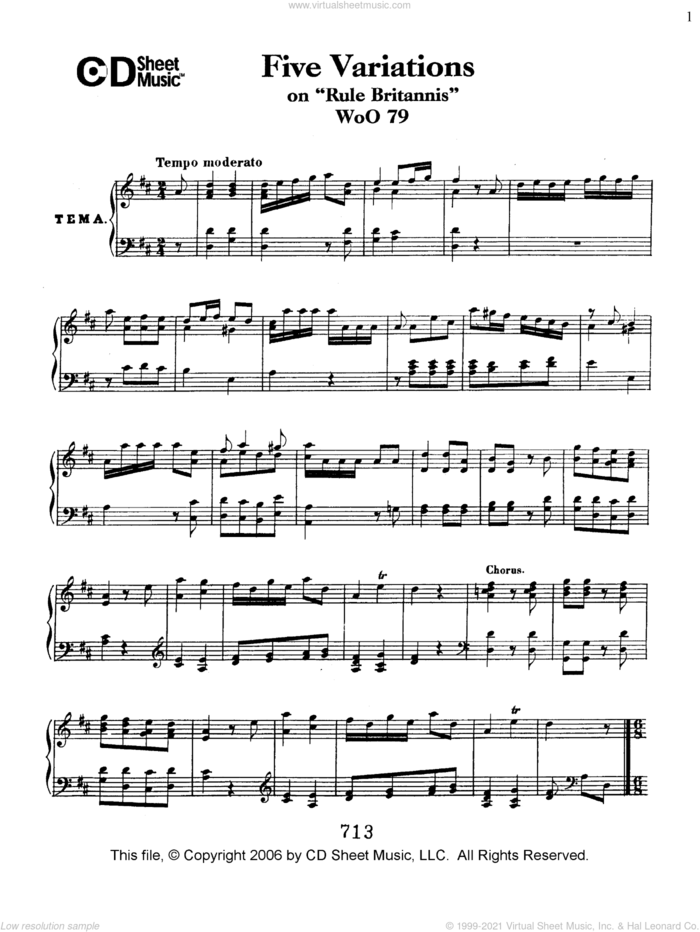 Variations (5) on 'Rule Britannia', WoO 79 sheet music for piano solo by Ludwig van Beethoven, classical score, intermediate skill level