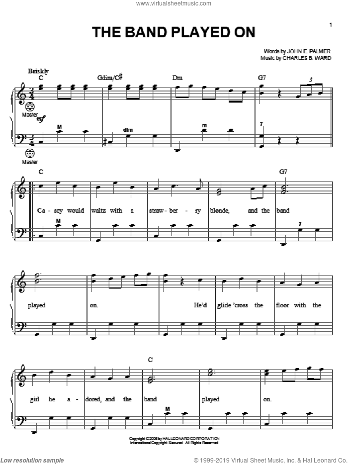 The Band Played On sheet music for accordion by John E. Palmer, Gary Meisner and Charles B. Ward, intermediate skill level
