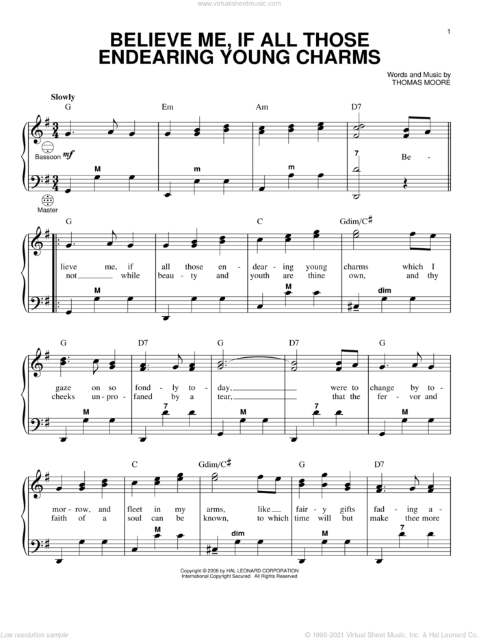 Believe Me, If All Those Endearing Young Charms sheet music for accordion by Thomas Moore and Gary Meisner, intermediate skill level