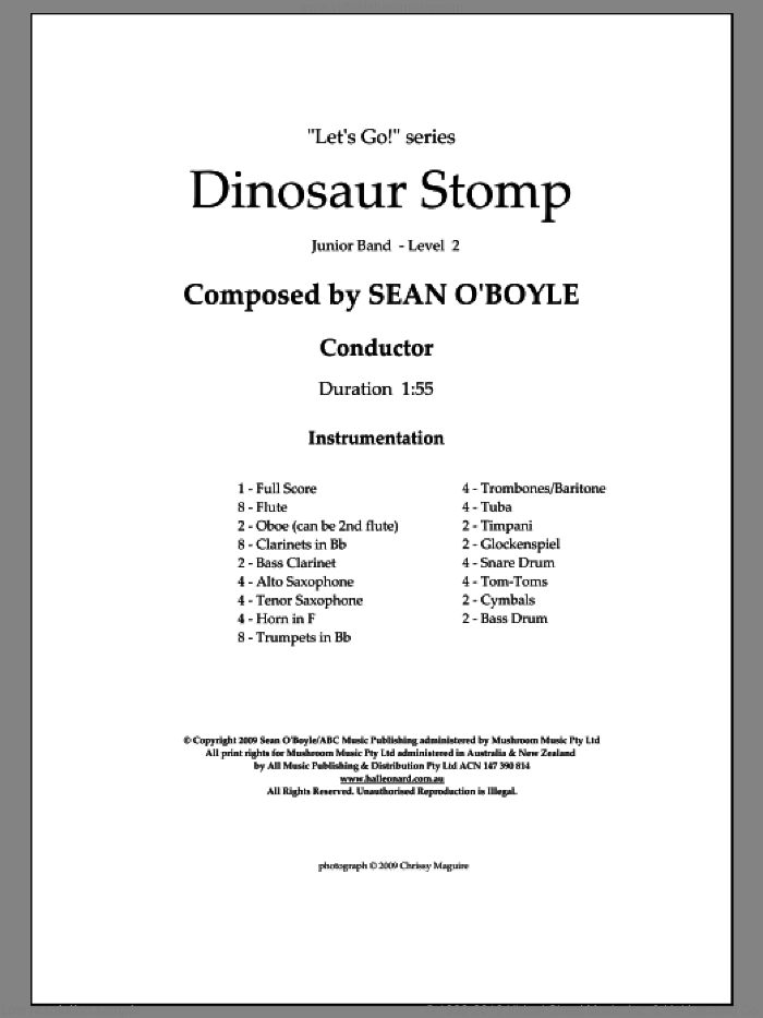 Dinosaur Stomp (COMPLETE) sheet music for concert band by Sean O'Boyle, intermediate skill level