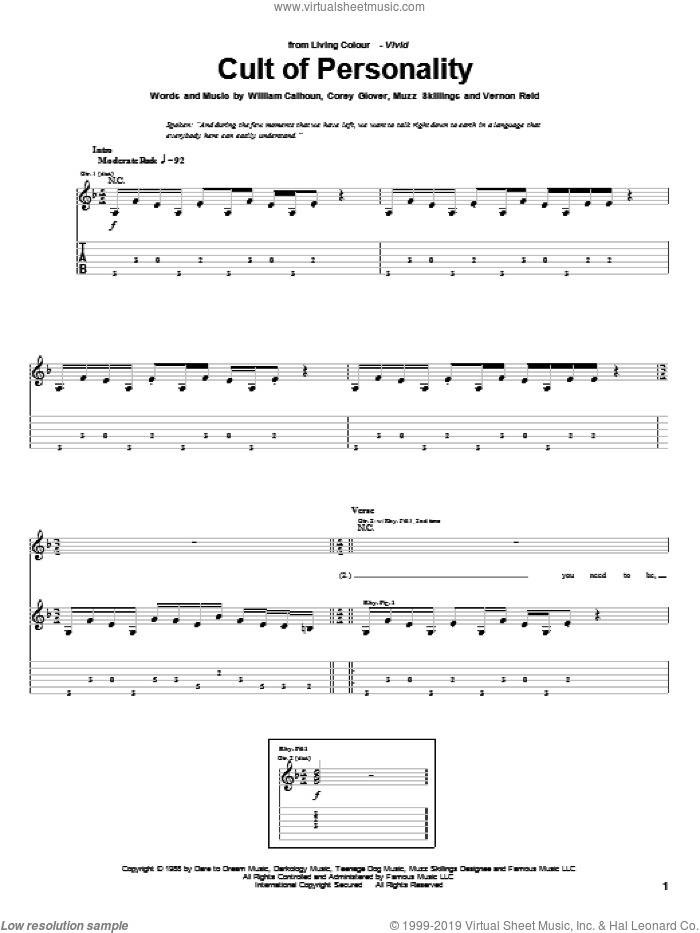 Cult Of Personality sheet music for guitar (tablature) by Living Colour, Corey Glover, Manuel Skillings and Vernon Reid, intermediate skill level