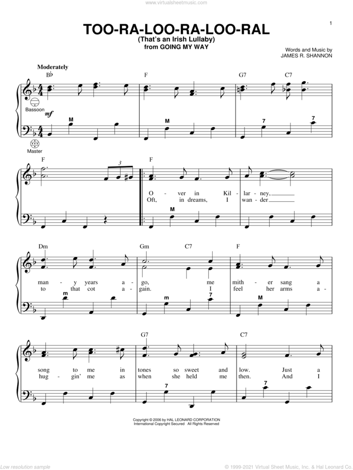 Too-Ra-Loo-Ra-Loo-Ral (That's An Irish Lullaby) sheet music for accordion by James R. Shannon and Gary Meisner, intermediate skill level