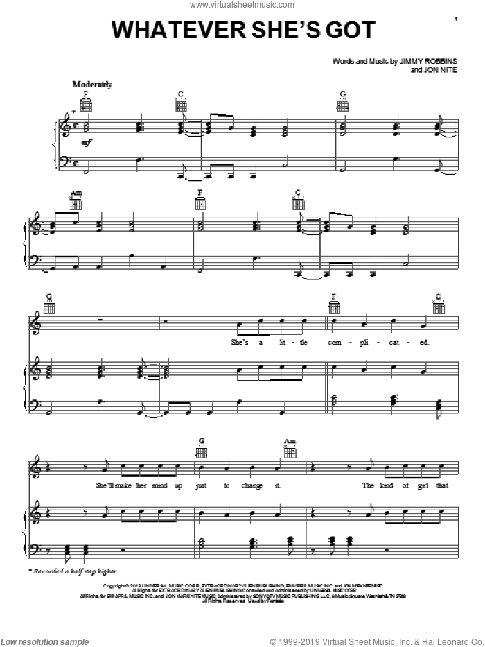 Whatever She's Got sheet music for voice, piano or guitar by David Nail, intermediate skill level