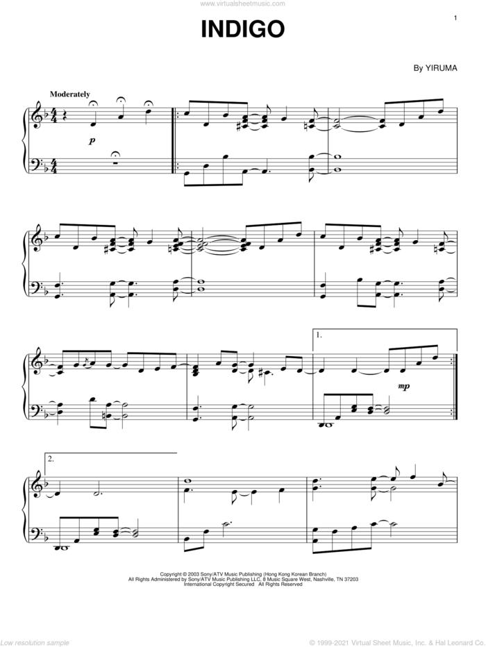 Indigo, (intermediate) sheet music for piano solo by Yiruma, classical score, intermediate skill level